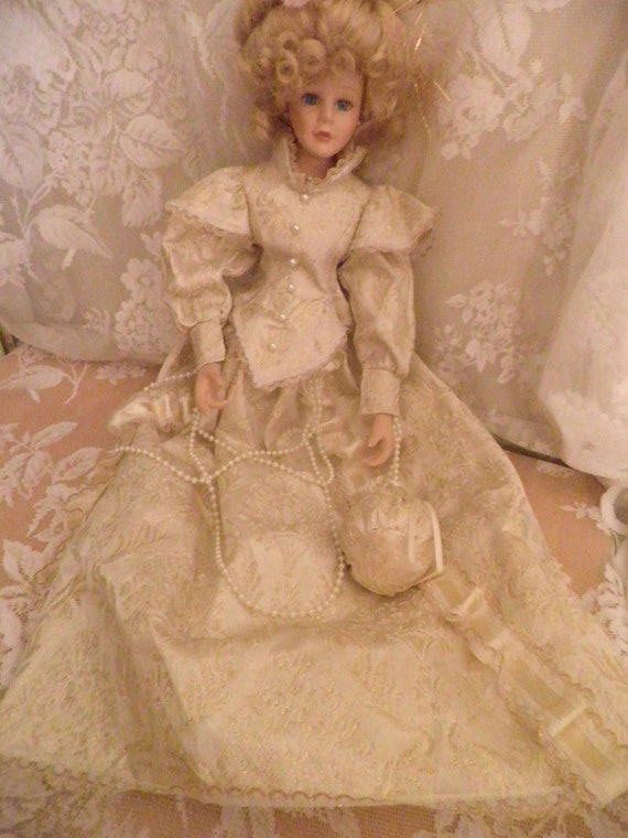 Vintage porcelain COLLECTORS CHOICE porcelain doll gorgeous dress glass eyes eyelashes