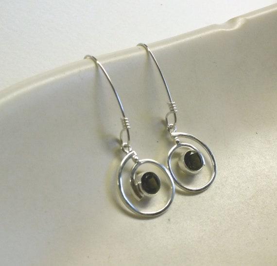 Swirl Smokey Quartz and Sterling Silver Drop Earrings