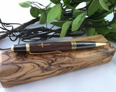 Walnut and Olivewood Holy Cross Inlay Pen and Olivewood Gift Box From Bethlehem, the Holy Land - FREE Engraving