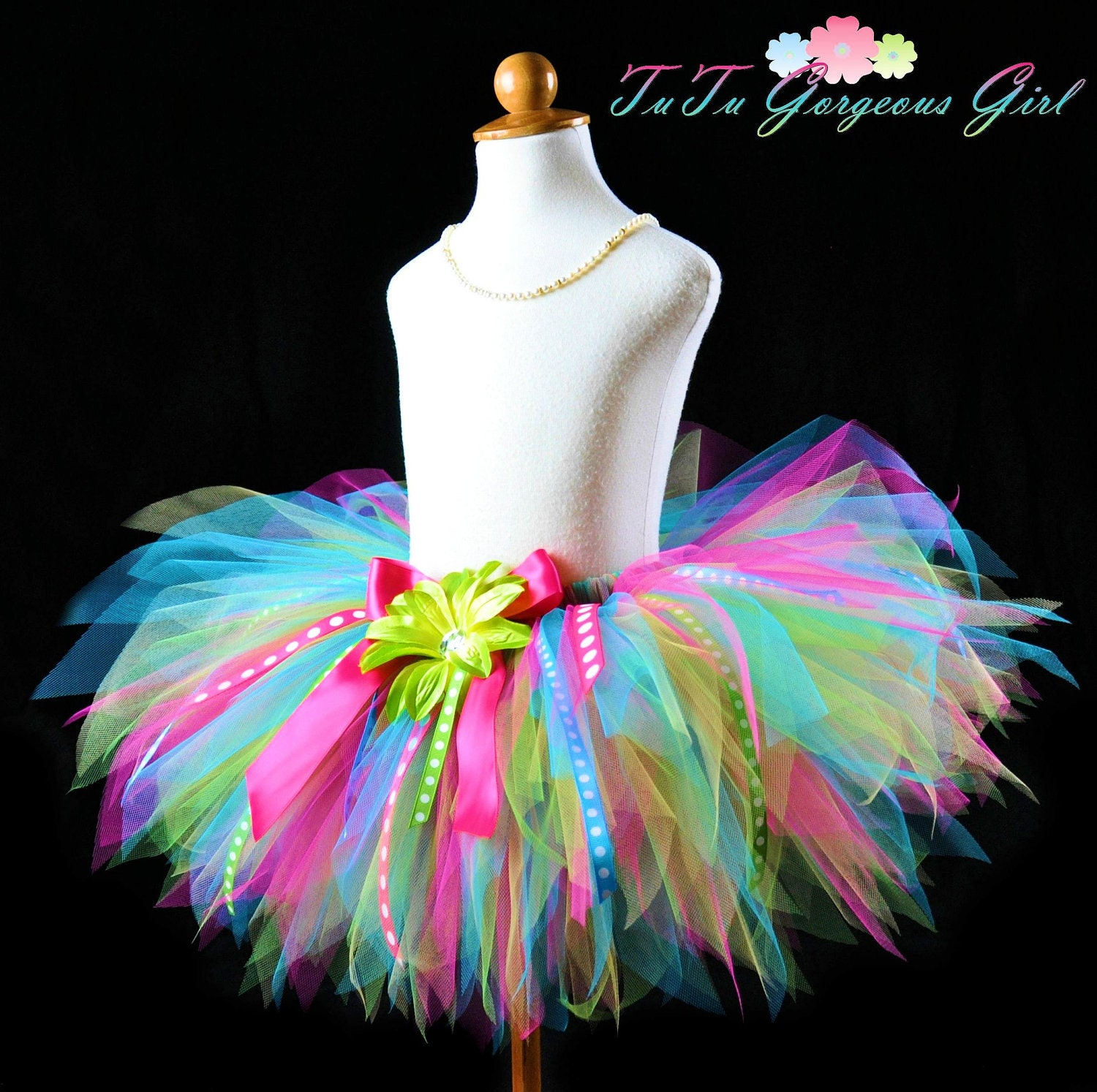 Tutus Tutu: Girls Fun Birthday Ribbon Tutu...Turquoise Hot By