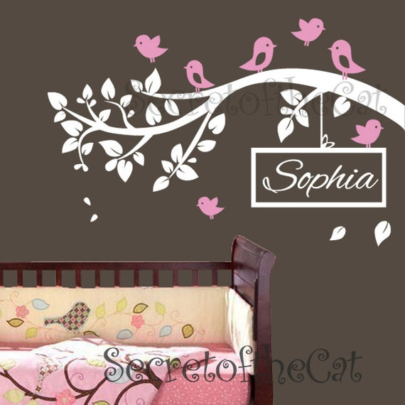 Nursery Wall decal - Wall decals nursery - branch vinyl decal - vinyl decal - children name decal - custom name personalized decal