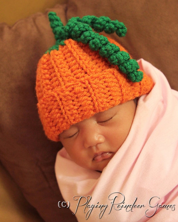 Newborn Crochet Pumpkin Hat Beanie Halloween