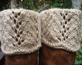 Boot toppers - Off White Scalloped Feather & Lace