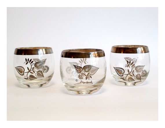 Georges Briard Silver Rim Roly Poly Glasses ... Trio, Leaf Pattern, Round, Barware, Cocktail