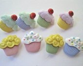 Mini Cupcakes Novelty Buttons/ Sewing supplies / DIY craft supplies / Plastic Buttons / Party Supplies / Kids craft supplies