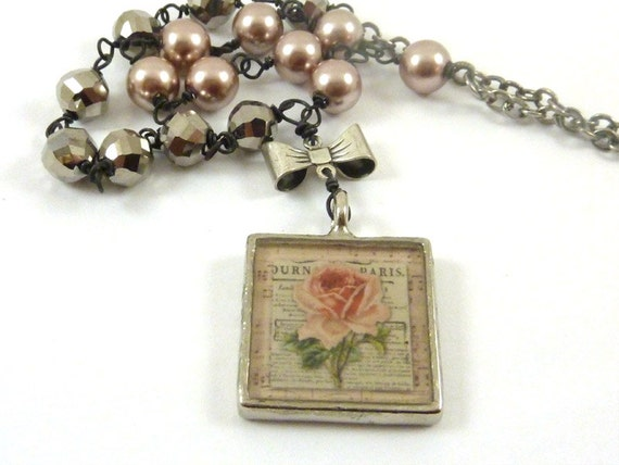 Pink Rose Necklace Resin Vintage Style Silver Bow Bezel Pink Pearl Platinum Wire Wrapped