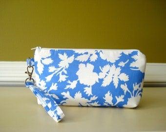 Wristlet. Clutch. Pouch. Travel Bag.  Bridal Gift. Cotton Fabric. Detachable Wrist. Clutch. Ready To Ship.