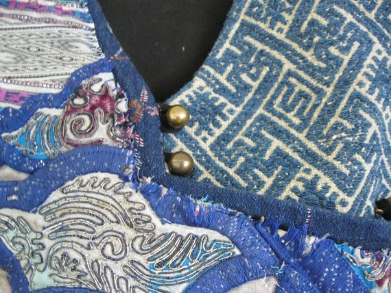 CLEARANCE SALE Vintage redesigned upcycled embroidery vest: blue