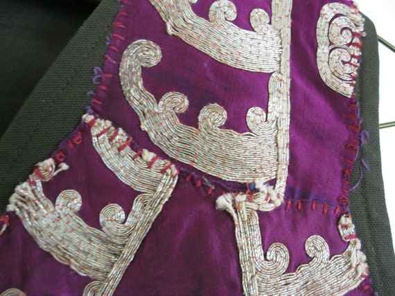 CLEARANCE SALE Vintage redesigned upcycled embroidery vest: green and purple