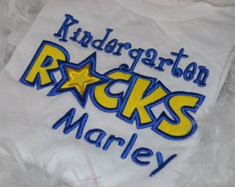 Personalized Kindergarten Rocks applique t-shirt