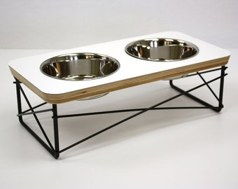 Modern Pet Feeder - Dog Bowl or Cat Bowl Elevated Feeder Stand Mid Century Modern Design Eames Inspired in White Color