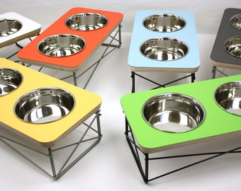 Modern Pet Feeder - Dog Bowl or Cat Bowl Elevated Feeder Mid Century Modern Design Eames Inspired, Assorted Colors Available