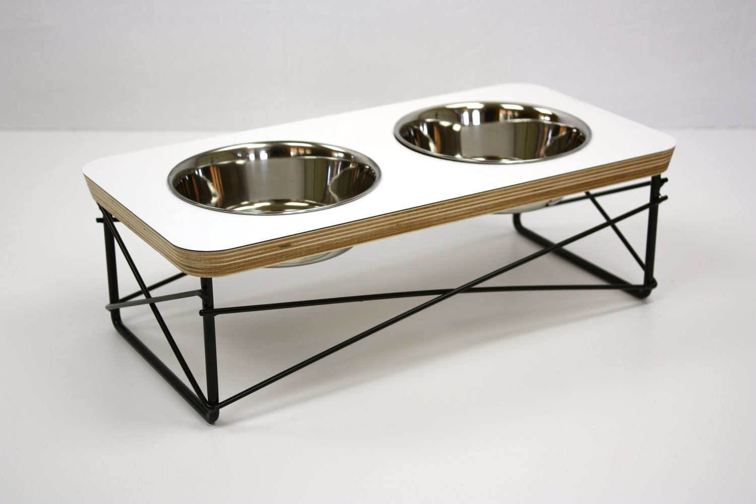 modern pet feeder dog bowl or cat bowl elevated feeder mid - modern pet feeder  dog bowl or cat bowl elevated feeder mid century moderndesign eames