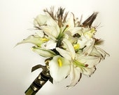 Peacock Feathers and Crystals Bouquet, Ivory Bouquet,  Bridal Bouquet with Bout