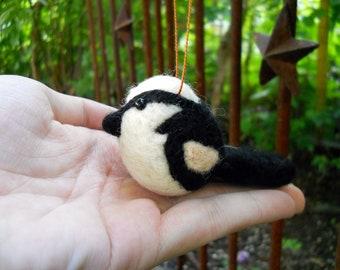 Christmas Bird Ornament - Felted Bird - Needle Felted Animal