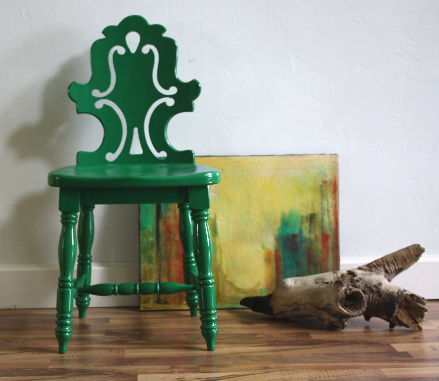 Emerald Green Vintage Accent Chair