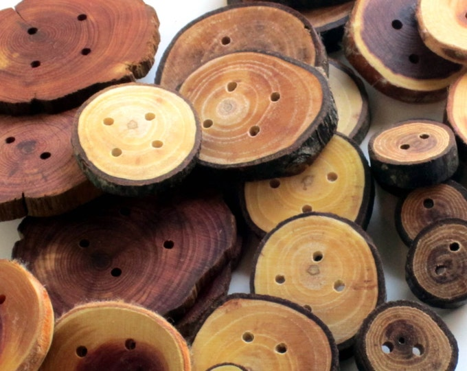 Huge Lot Handmade Wooden Buttons, Natural Wooden Buttons, Wood Buttons, Rustic Wood, Wooden, Natural Wood, Tree Slice, Bark,branch Buttons