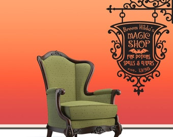 Broom Hildas Magic Shop Sign Wall Decal Sticker - Halloween Decoration Witch decal