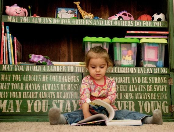Custom Design, hand crafted children's Furniture storage bookcase,  forever young lyrics
