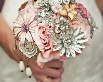 Brooch Bouquet - Custom Heirloom Bouquet with Silk Flowers Handmade by The Ritzy Rose - High Quality Soldered Designer