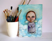 Original Mixed Media Painting - 'Angel Above' Whimsical Portrait