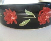 Reverse carved roses and leaves floral open bangle or cuff