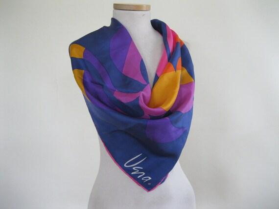 Vintage 1970s Vera Scarf / Multi Bright Colored Silk / Mod