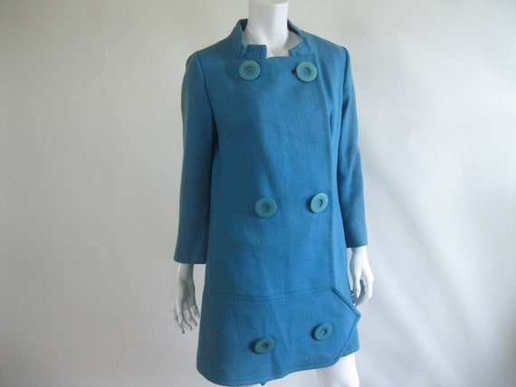 50% Off sale Vintage 1960s Coat / Blue Wool / Jack Bloom California / Mod / Mad Men / S
