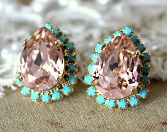 Pink Blush Turquoise  drop Crystal earrings teardrop stud earring, bridesmadis earrings - 14k plated gold post  swarovski earrings