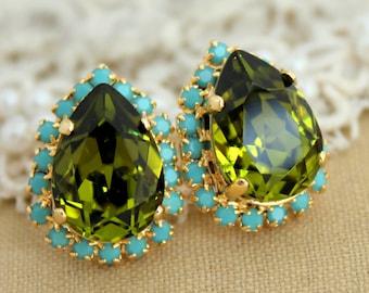Swarovski Earrings,Olivine Earrings,Lime Earrings,Gift for her,Christmas gift,Green Turquoise Swarovski Stud Earrings,Bridesmaids Earrings