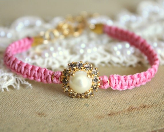 Pink braided Friendship bracelet with pearls and swarovski rhinestones