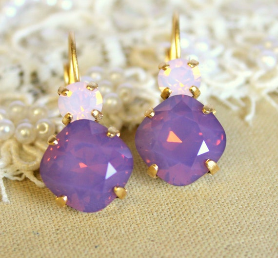 Purple and pink crystal earring -  classic earrings 14k plated gold real swarovski rhinestones .