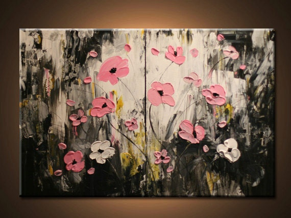 Original flower painting contemporary pink flowers landscape for Modern flower paintings