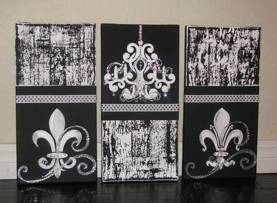 Set of 3 Luxury in Black Original Chandelier Fleur De Lis – Painting of Chandelier