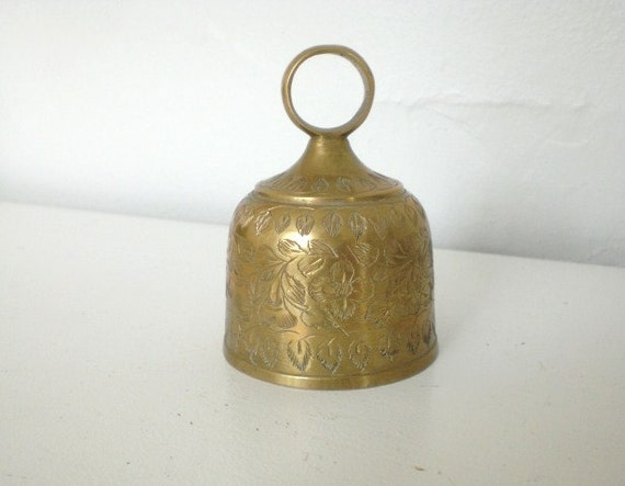 Vintage Brass Hand Bell Etched India