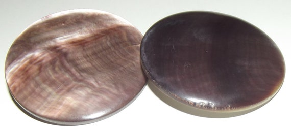 2 Huge Antique iridescent pearl buttons