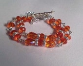Orange Crystal Bracelet - UT Longhorn Jewelry Lips Charm - Silver Jewellery - Double Strand Jewellery - Crystal - Fashion