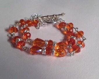 Orange Crystal Bracelet - UT Longhorn Jewelry Lips Charm - Silver Jewellery - Double Strand Jewellery - Crystal - Fashion