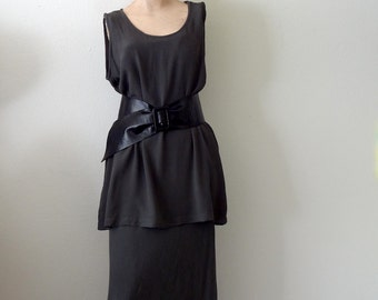 Vintage GHOST Bias Cut Dress / Charcoal Grey Rayon Tunic and Maxi Skirt 2 Piece size S