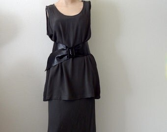 Vintage GHOST Bias Cut Dress / Charcoal Grey Rayon Tunic and Maxi Skirt 2 Piece