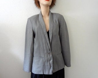 1980s Linen Jacket / vintage dove grey suit coat / retro blazer