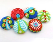 Flat Back Button / Gypsy Bandana /  Fabric Covered Buttons /  Flatback Craft Button / Shank Button / Pushpin / Ponytail Holder / Supplies