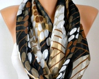 Brown Tones Polka Dot Cotton Infinity Scarf,Christmas Gift, Circle Scarf  Loop  Scarf Gift -fatwoman