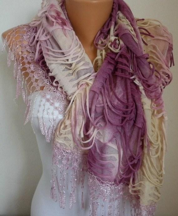 Lace Scarf -  scarf shawl - Sale scarf - Free scarf - Lilac - fatwoman