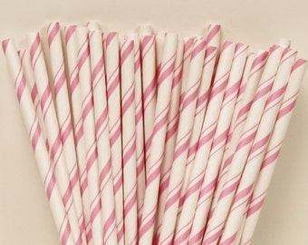 25 Pink Candy Cane Stripes Paper Straws with DIY Straw Flags, Birthday Party Printables, Baby Shower, Wedding