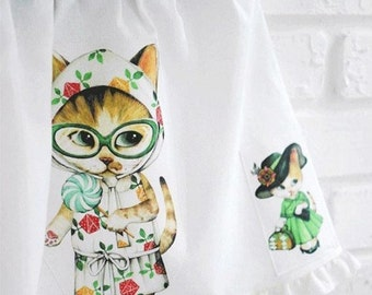 Cotton Linen Fabric Cloth -DIY Cloth Art Manual Cloth-Cute Cat  55x16Inches