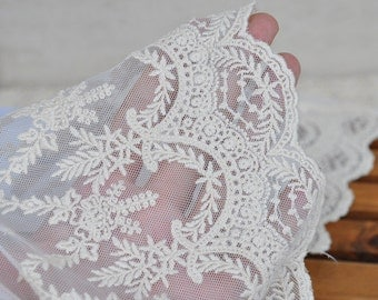 Lace Fabric Trim 1Yards  White Embroidery Lace Gauze 19.5cm wide