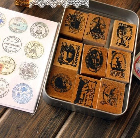 Wooden Rubber Stamp - Vintage Print Style -Pretty Deco Sticker Stamp Set