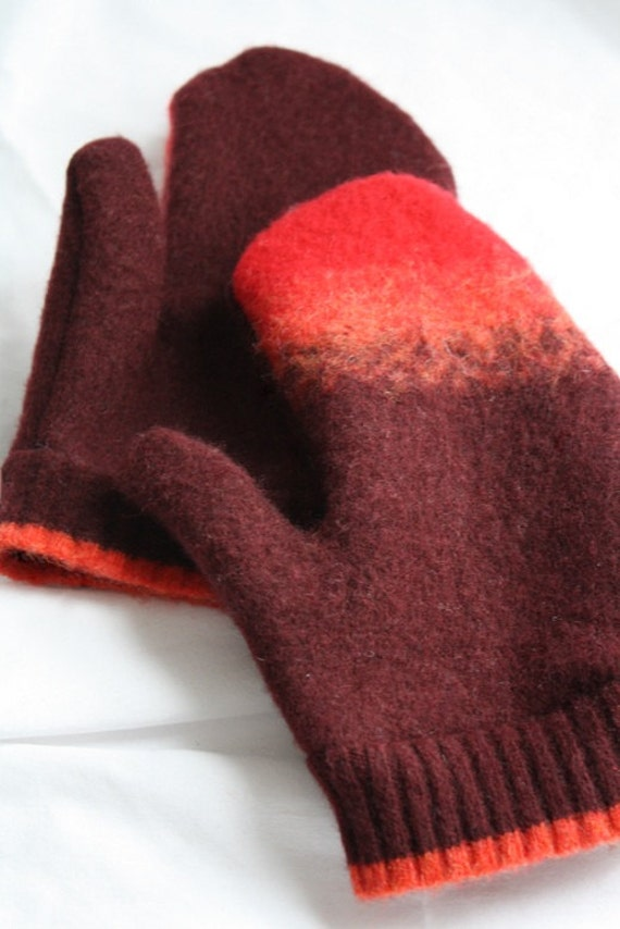 Mittens - Made from Recycled Wool Sweaters - Burgundy & Red