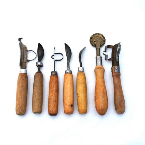 Vintage Tools Seven Fruit Peelers Pitters Corers Pie Wheel Wood Handles Instant Collection